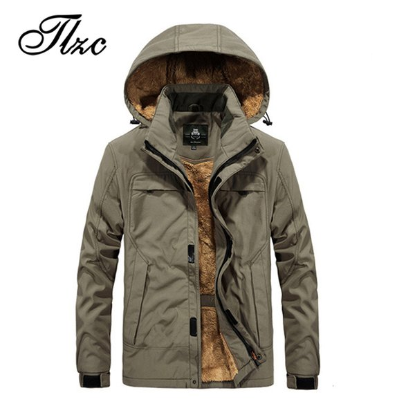 TLZC Brand Men Waterproof Clothes Men's Windbreaker Coat Plus Size M-4XL New Winter Mens Casual Hooded Jacket