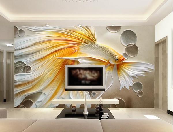 Custom 3D Photo Wallpaper Mural Living Room Sofa TV Backdrop Mural Coloured relief goldfish Picture Wallpaper Mural Sticker Home Decor