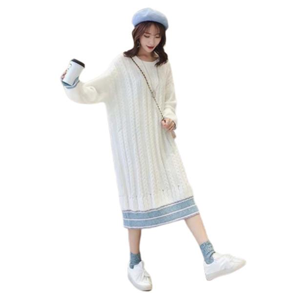 Camisola de natal Mulher Overknee Saia de Tricô Vestido de Inverno Roupas Befree Harajuku Pulôver Truien Dames Ropa Mujer Camisola