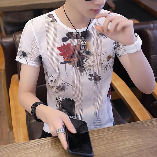 YA919 Yaz serin T-shirt erkek ince baskılı buz ipek kısa kollu hollow kişilik koyu çiçek gelgit gençlik erkek yarım kollu