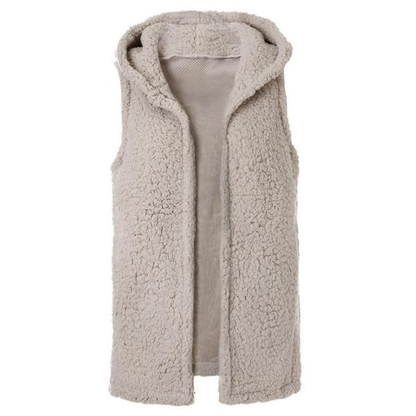 Laamei 2019 Spring New Womens Casual Top Solid Color Sleeveless Faux Fur Vest Fleece Cardigans Coat Hoodie Short Jacket Z30