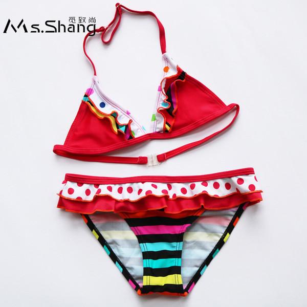 6-16 Yıl Kız Mayo Çocuk Çocuk Mayo 2019 Yeni Bebek Kız Bikini Nokta Çizgili Çocuk Mayo Kırmızı yüzme Suit