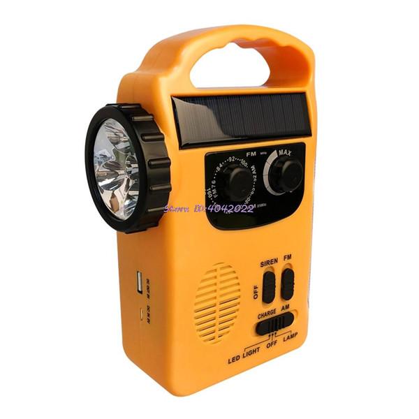 Открытый Emergency Ручной солнечный Динамо AM / FM Радио банк питания со светодиодной лампы