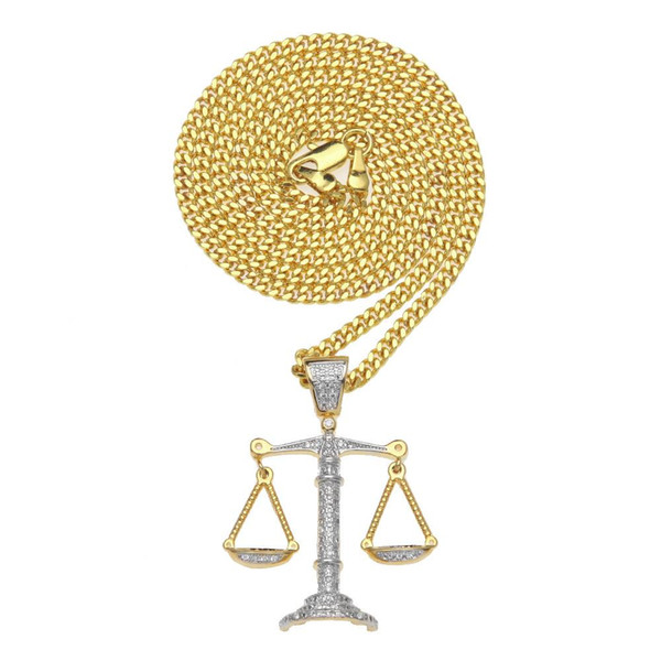 Balance Échelles Pendentif Colliers Hommes De Luxe De Mode Plein De Diamants Charmes De Cuivre Collier Zircon Or Argent Colliers Bijoux Amant Cadeau