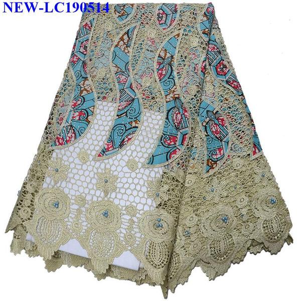 Alta calidad Guipure africana del cordón azul Francia Tela del cordón verde de la tela soluble en agua del cordón de encaje guipur para las mujeres se visten MN-003