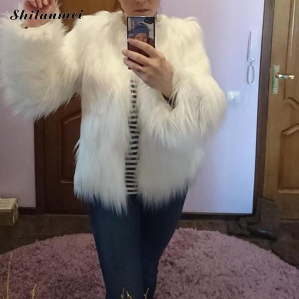 Kürklü Kürk Ceket Kadın Kabarık Sıcak Uzun Kollu Giyim Sonbahar Kış Ceket Ceket Tüylü Yakasız Katı Palto Artı Boyutu 3XL