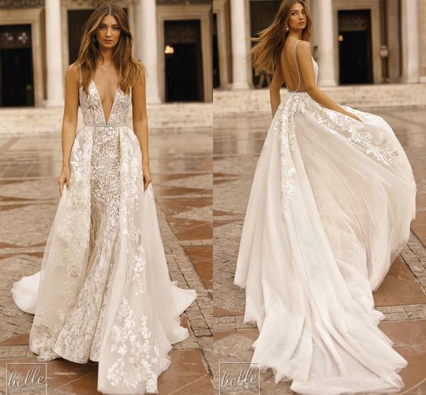 2019 Berta V Neck Wedding Dresses Lace Appliques Beads Detachable Train Backless Boho Beach Wedding Dresses Bridal Gown Vestidos De Nnovia