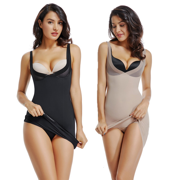 Full Body Shaper Sexy Midi Dress Slimming Shapewear Waist Trainer Control Slips Pajamas for Women Butt Lifter Backless DressesMX190929