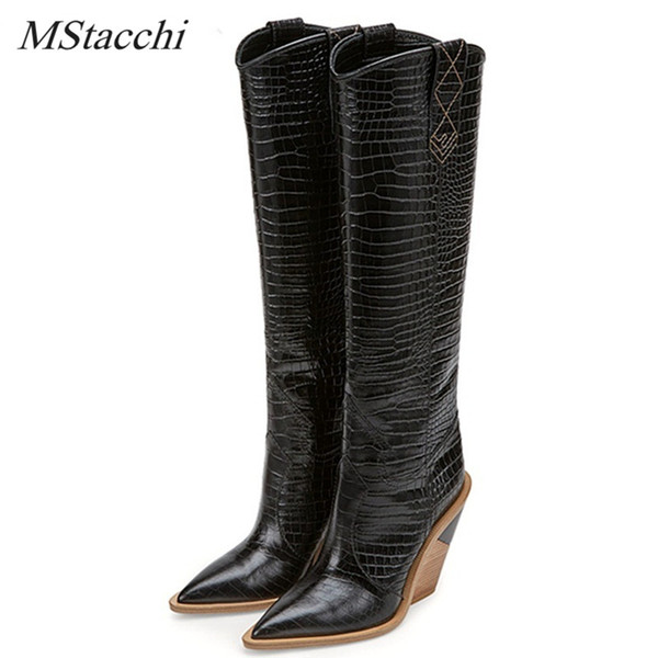 purpurpur / MStacchi Brand Embossed Runway Shoes Woman Knee High Boots Pointed Toe Western Cowboy Boots Chunky Wedge Slip On Snakeskin