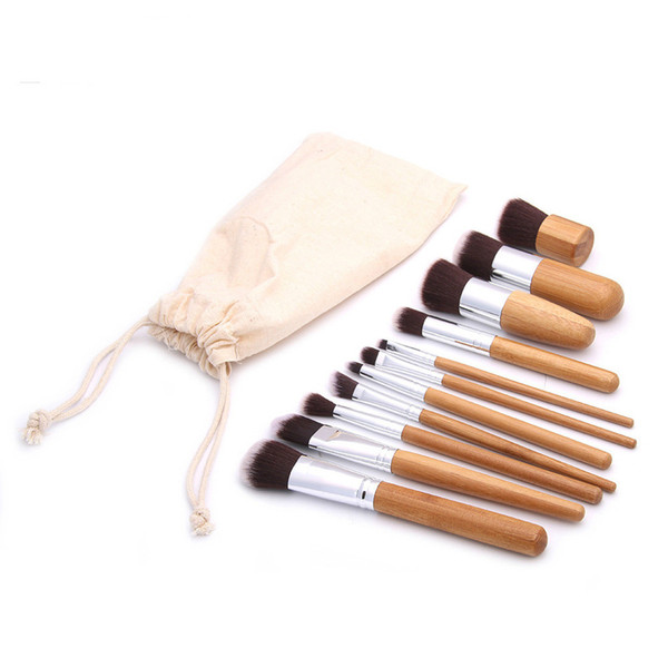 11pcs/lot Professional brush bamboo handle makeup brushes kits tools Cruelty free hair Natural & recycled materials makeup brush set