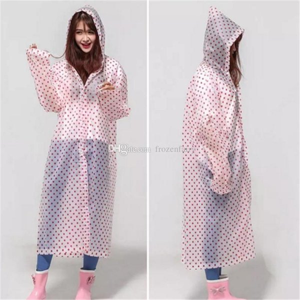 60pcs EVA Dot Environment Safety Raincoat With Hood For Men And Women Outdoor Rainwear Waterproof Poncho Over Knee Length Rain Coataa793-800