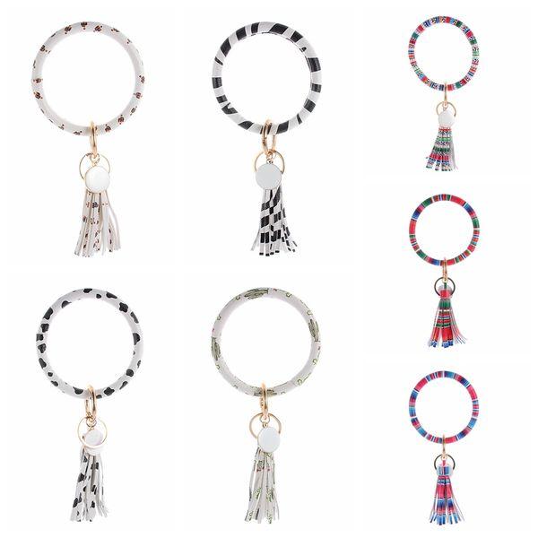 Motifs Cactus Bracelets Porte-clés Gland Breloques Bracelets Porte-clés Creative PU En Cuir Wrap Bracelet Chaînes Creative TTA1703