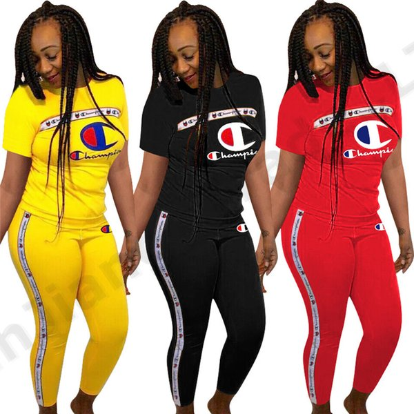 Women Champions Letter Print Short Sleeve T shirt + Pants Summer Tracksuit Luxury Brand Designer Outfits 2 Piece Sportswear Sports suit A362