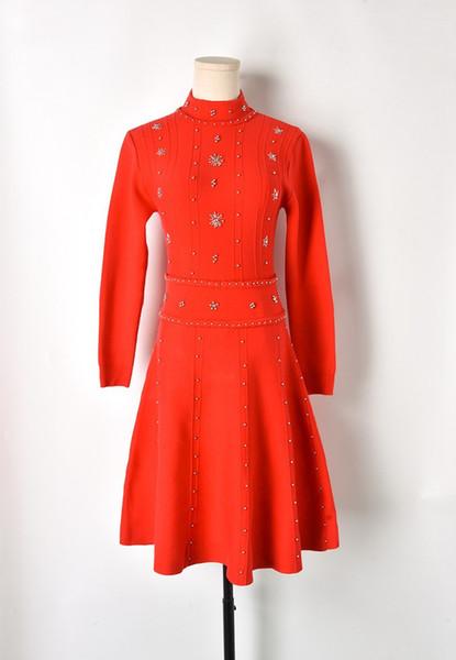 Milan Runway dress 2019 Spring High collar Long Sleeve Beading Rivet Women's Designer Dress High End Jacquard Brand Same Style Dress 122205