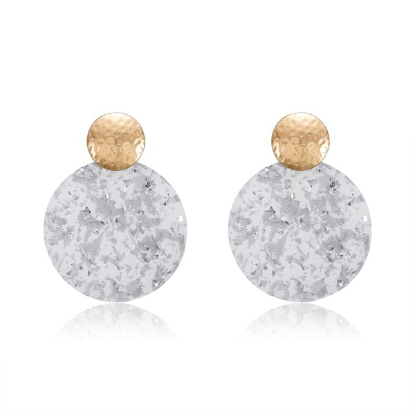 Retro Marble Texture Earrings Acrylic Round Earrings Stylish Geometric Exquisite Jewelry For Women Girls 1Pair Light Gr