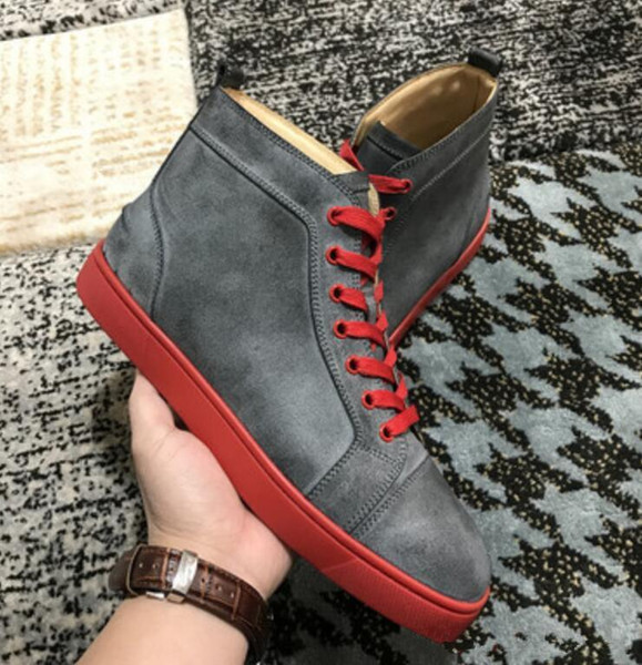 [original box] Red Bottom Men,Women Shoes Restoring Ancient Ways Genuine Leather High Top Sneakers Shoes,Outdoor Flats Walking Party Shoes08