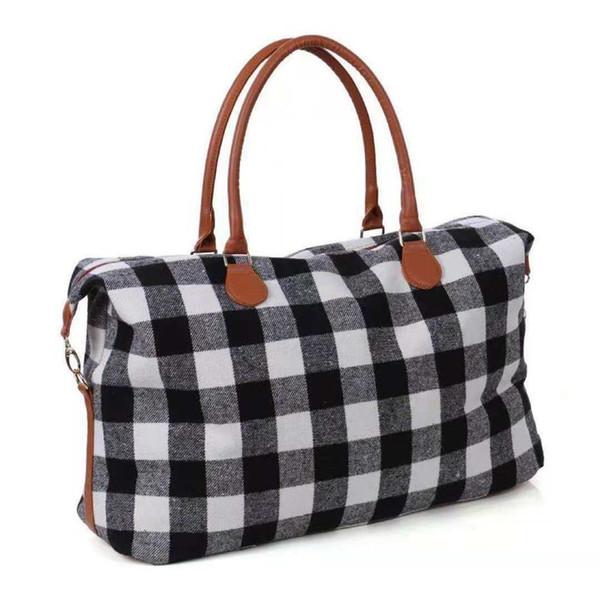 Fashion Plaid Duffel Bags Women Handbags Big Capacity Totes Travel Sport Bag Exercise Luggages White Check Overnight Bags