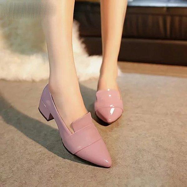 Zapatos de tacón alto Zapatos de mujer de charol Zapatos de vestir de mujer solteros Tacones gruesos Punta estrecha Leopard Bombas femeninas