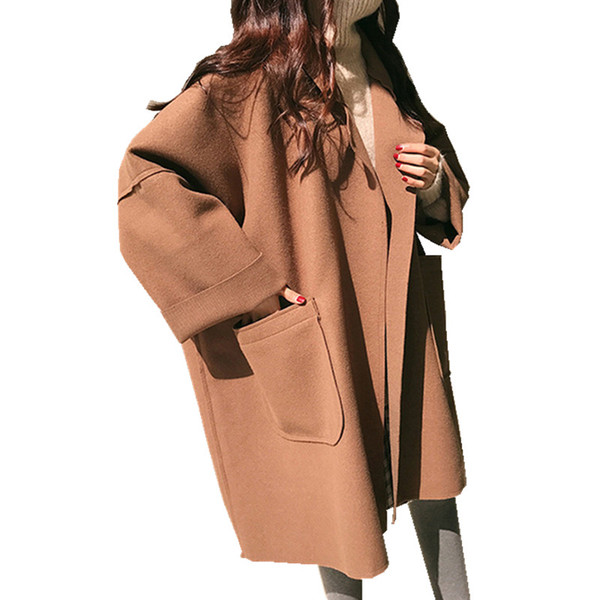 2018 Abrigo de invierno de lana suelta de gran tamaño Mujeres Breve Chaqueta de capa negra Cardigan femenino Coreano Gran bolsillo Largo Señoras Abrigos de camello