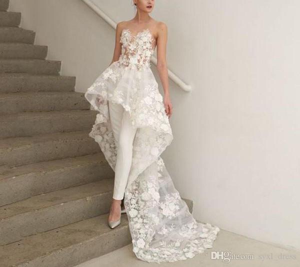 2019 plus size boho a line bohemian high low jumpsuits wedding dresses bridal gowns Abendkleider Vestido De Novia 3D-Floral Appliques