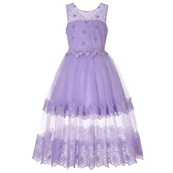 Kids Girls Party Wear Costume For Children Long Princess Wedding Dress Girls Lace Flower Teens Prom Dresses Christmas Vestidos