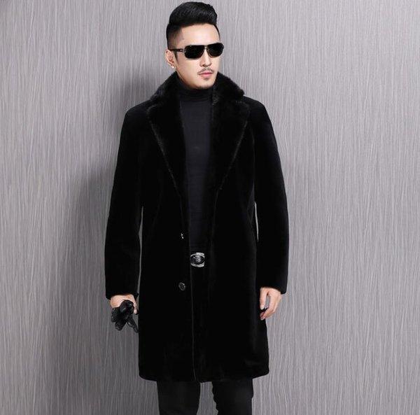 Sahte vizon deri ceket mens uzun palto kış kalınlaşmak sıcak kürk deri ceket erkekler ince ceketler jaqueta de couro moda siyah