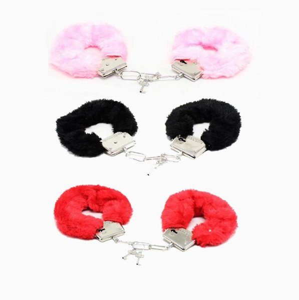 Hand Cuffs Women Sexy Adult Game Night Party Game Gift Furry Soft Metal Fuzzy Handcuffs Soft Gife Toys