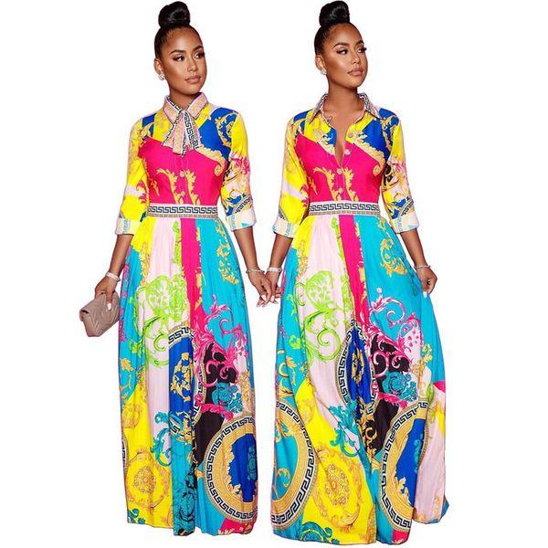 Otoño Mujer Nuevo vestido largo floral Otoño Primavera Desginer Mujer Vestidoes Vestidos