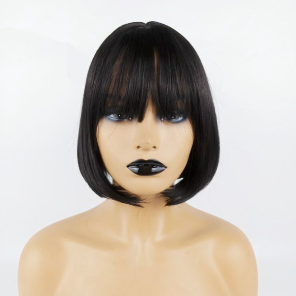 BOB Wigs Short Straight Black Hair Women Bob Style Full Head Wig Synthetic Real Thick Black Brown Blonde Hair