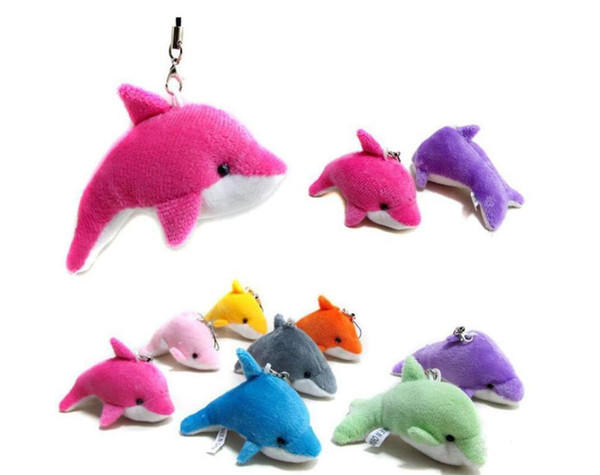 top popular Lovely Mixed Color Mini Cute Dolphin Charms Kids Plush Toys Home Party Pendant Gift Decorations Free Shipping 2020