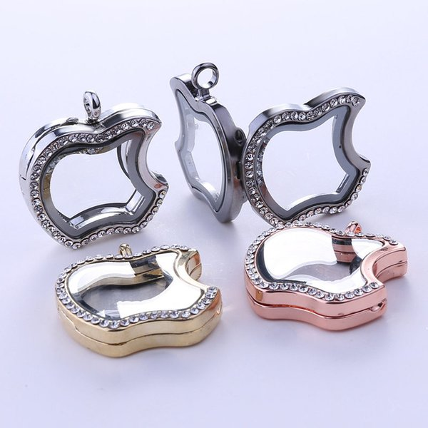 best selling Apple Floating Locket Pendants Living Memory photo Glass Crystal box model floating charm lockets part of necklace keychain