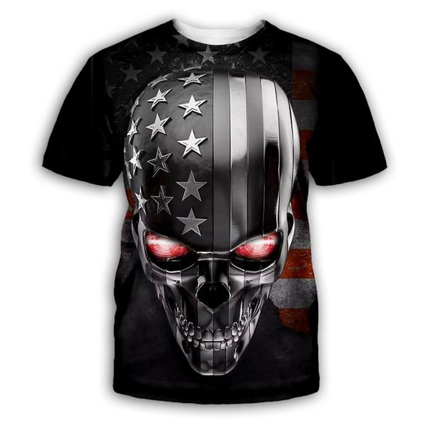 Yeni Moda Kafatası / Amerikan Bayrağı T Shirt Erkek Kadın Hip Hop T Gömlek 3D Baskı Rahat T-Shirt B179