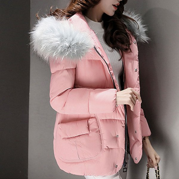 1PC Winter Jacket Women Fur Collar Hooded Jackets Womens Winter Coat Abrigos Mujer Jaqueta Feminina Casaco Feminino Z5490