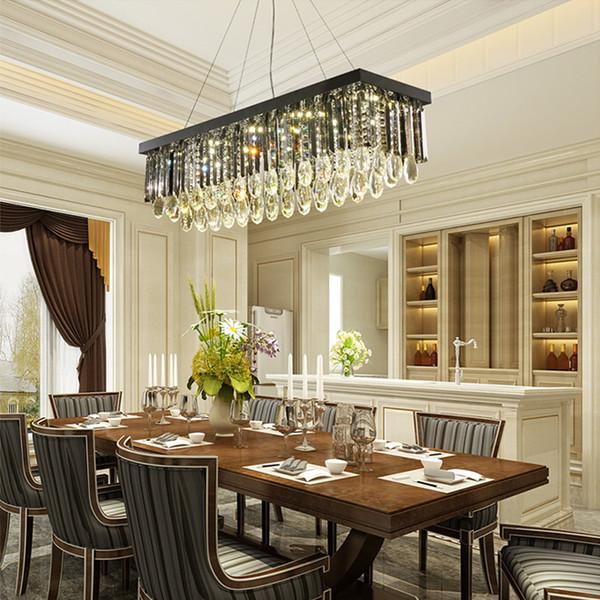 cristal rectangulaire moderne éclairage lustre lustres pendentif en cristal de luxe lumières LED lampes suspendues pour restaurant salle à manger