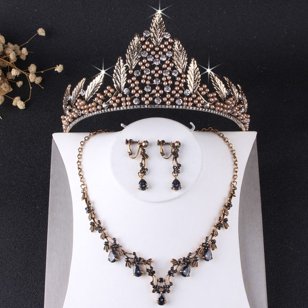 Charming Baroque Bronze Bridal Jewelry Sets 3 Pieces Suits Necklace Earrings Tiaras/Crowns Bridal Accessories Wedding Jewelry Sets T305652