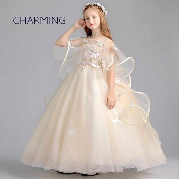 Compre Vestidos De Novia Para Niñas Vestido De Princesa Fiesta Vestidos Largos Vestidos Bonitos Para Niña De Encaje Vestido De Niña De Flores A 5628