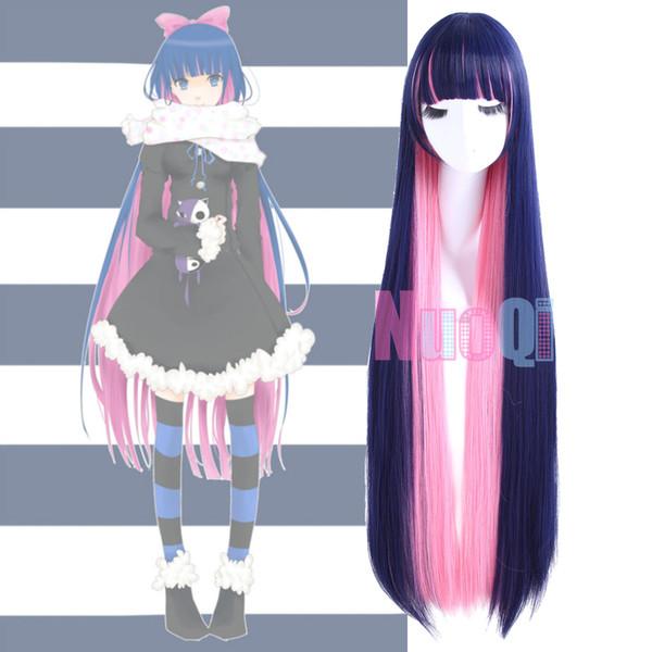 Колготки с длинным прямым длинным прямым синим микс-косплеем с париком косплей