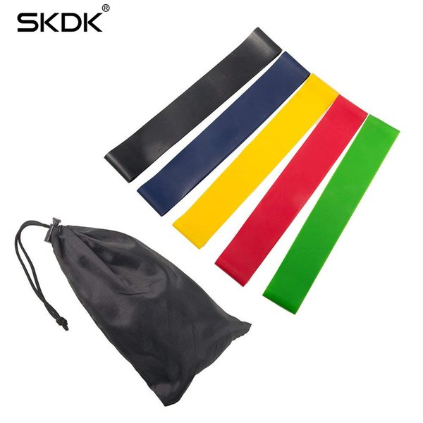 top popular 5pcs lot Resistance Bands Cross-fit Silicone Band Fitness Gym Equipment Straps Latex Yoga Gym Strength Training Athletic Rubber Bands 2019