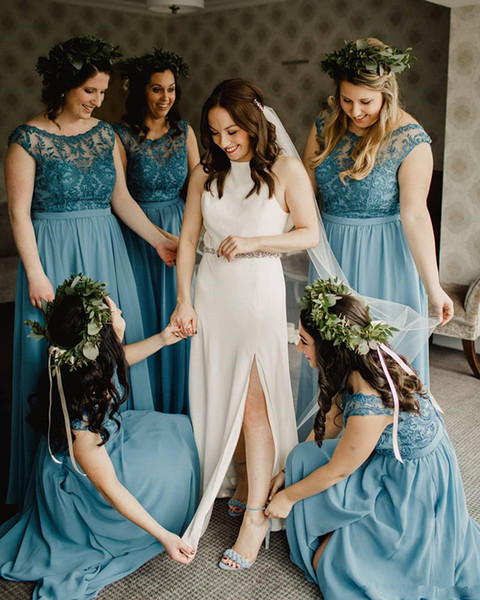 2019 Scoop Lace Caps Capped Vestidos de dama de honor Cremallera Volver Maid of Honor Vestido largo de gasa A Line Vestidos de fiesta