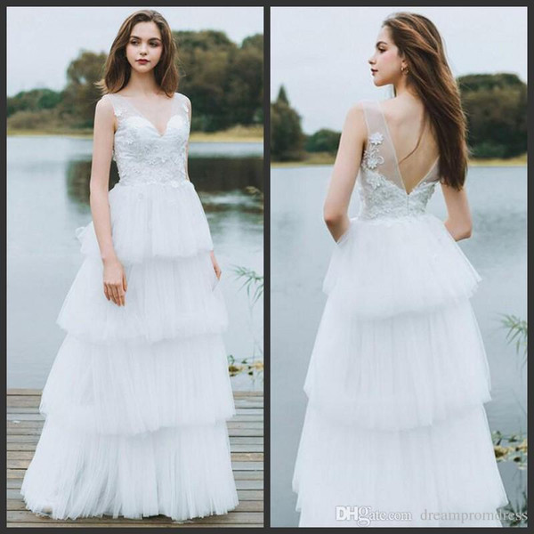 New Arrive A Line Fashion Wedding Dresses Deep V Neck Appliques Backless Bridal Gowns Tiered Skirts Tulle Wedding Dresses