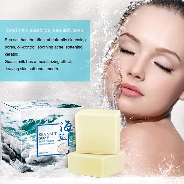 100g Sea Salt Soap Cleaner Removal Pimple Pores Goat Milk Moisturizing Face Wash Soap Skin Care Savon Au Hot