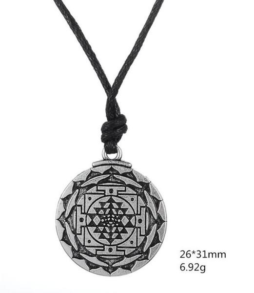 B15 Prata Antiga Deusa Hindu Sinal de Riqueza Pingente de Yoga Wicca Religião Amuleto Colar