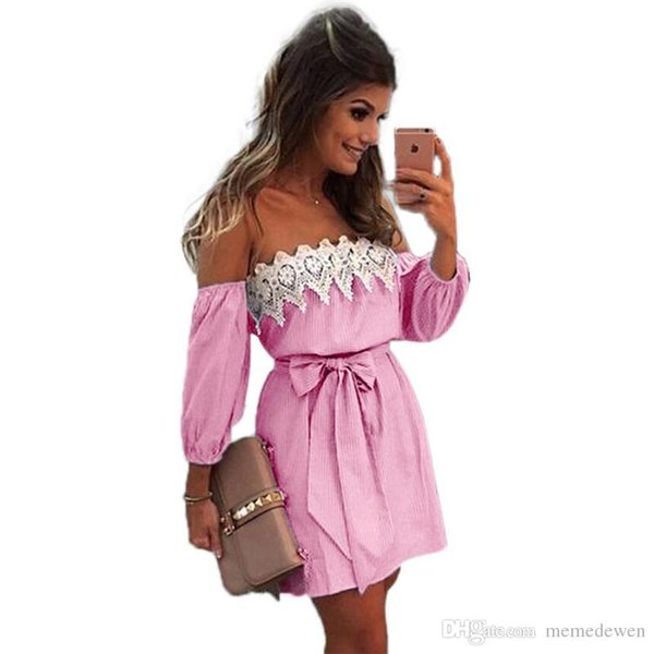 2017 Off Shoulder Blue Striped White Applique Mini Dress Women Slash Neck Lantern Sleeve Casual Sexy Short Dress With Belt NN-001