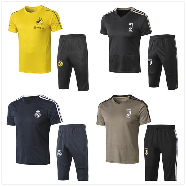 Top quality 2018 2019 short sleeves training suit soccer jersey short sleeve 3/4 pants RONALDO ISCO ASENSIO football shirt