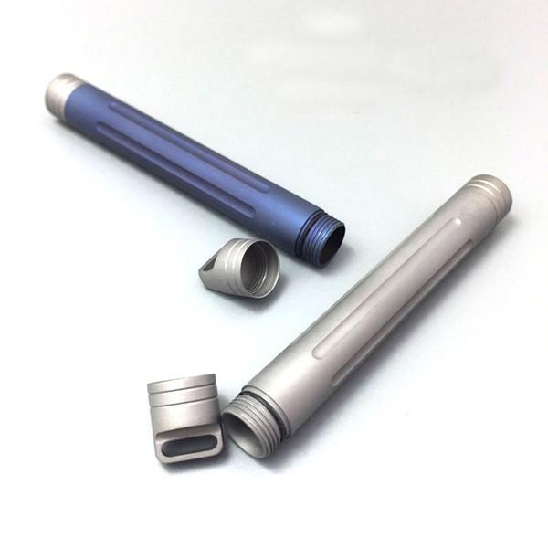 Venta al por mayor-nuevo EDC Titanium portátil al aire libre llavero Multi herramientas píldora cápsula caso cartucho impermeable palillo titular