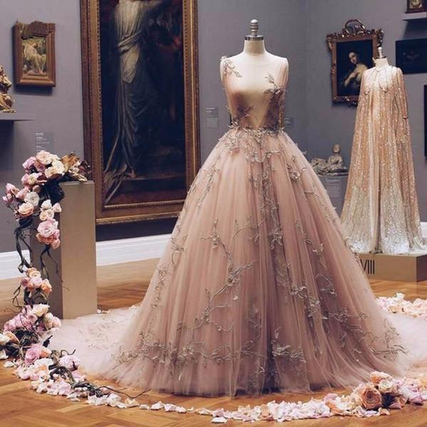 Pretty Vintage Champagne Embroidery Prom Dresses 2018 A-line 3D Flower V-neck Evening Gowns 2019 Vestido De Festa Longo