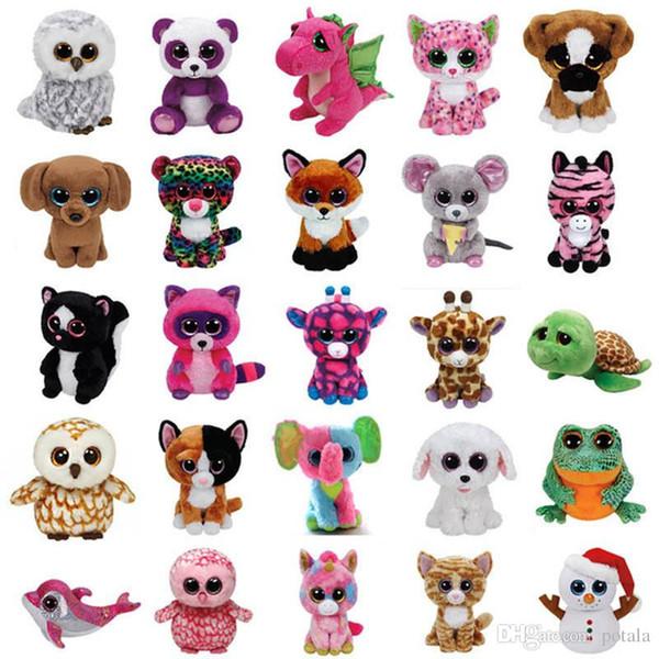 18CM Ty Beanie Boos Plush toys Stuffed Animals dolls juguete Big Eyes Owl Unicorn Cat Elephant Penguin Leopard Foxy Dog Rabbit Giraffe Panda