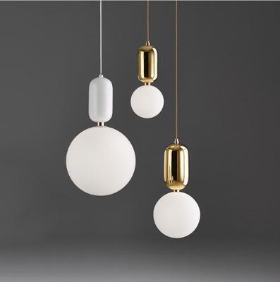 Globe Verre Modren Lumière Led Lustres Balle Pendentif Lampe Fer Suspension Suspension Salon Chambre Cuisine Lumière Hanglamp Fixtures