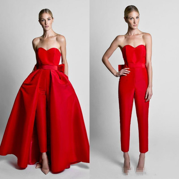 2019 Krikor Jabotian Red Jumpsuits Celebrity Evening Dress With Detachable Skirt Sweetheart Strapless Satin Guest Dress Prom Party Gowns