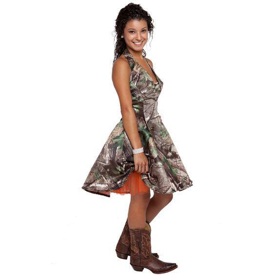 Camo brevi abiti da damigella d'onore Halter Una linea Backless arancione Organza interno Designer Paese damigella festa Prom Dress Cheap